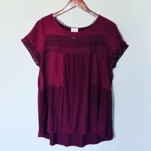 Knox Rose Eggplant Bohemian Crochet Top